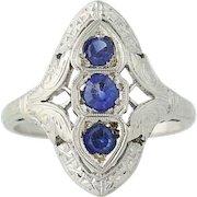 Art Deco Synthetic Sapphire Ring - 14k White Gold Women's Vintage .64ctw