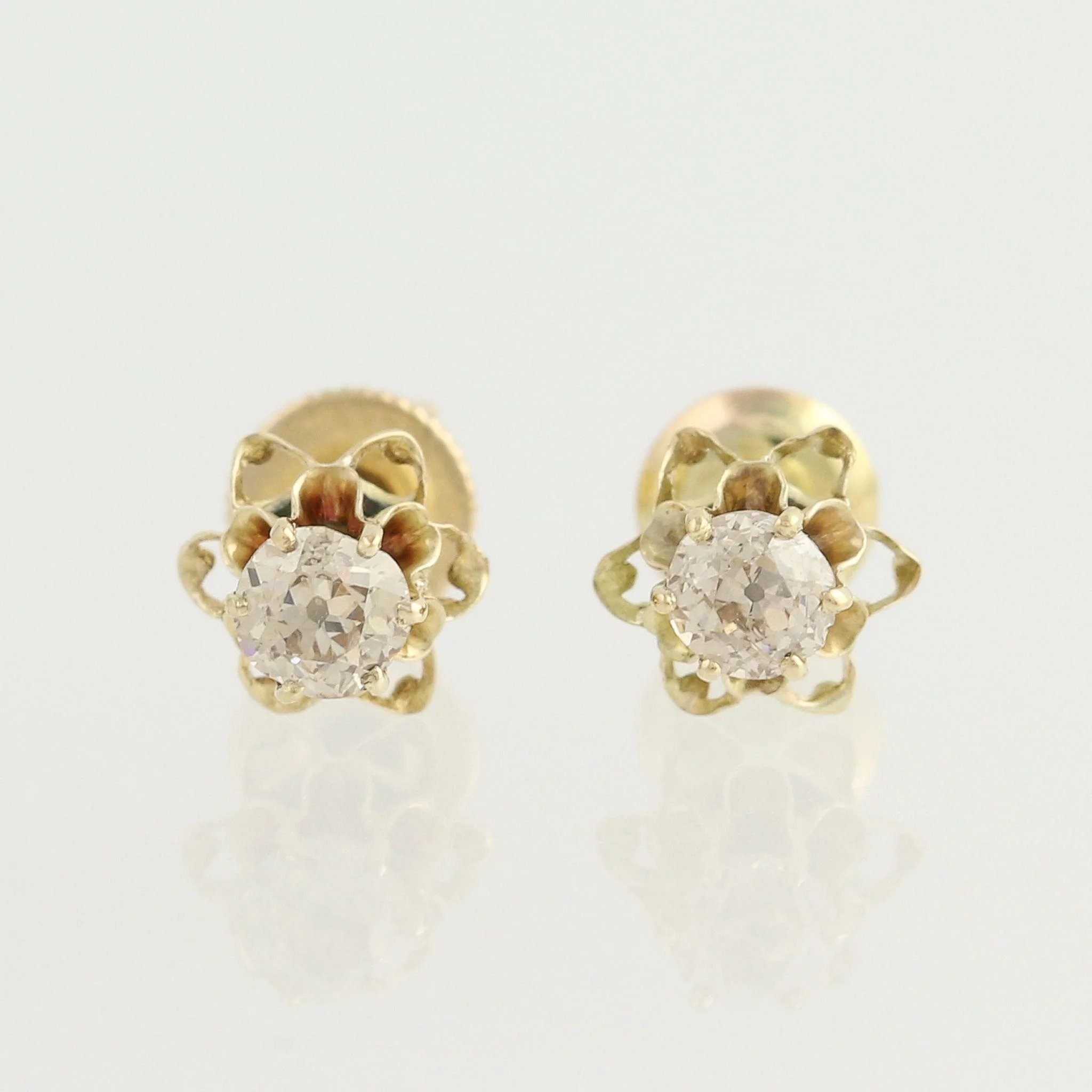 cut earrings vintage baguette diamond antique stud round l