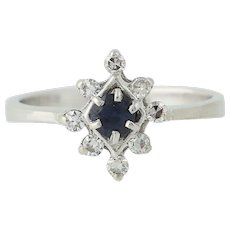 Sapphire & Diamond Ring - 14k White Gold September Birthstone .37ctw
