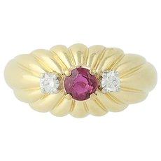 Ruby & Diamond Ring - 18k Yellow Gold July Birthstone .62ctw