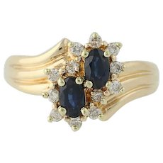 Sapphire & Diamond Bypass Ring - 14k Yellow Gold September .94ctw