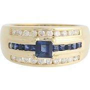 Sapphire & Diamond Ring - 14k Yellow Gold September 1.10ctw