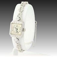 1970s Harvel Diamond Watch - 14k White Gold Ladies Vintage Quartz .64ctw