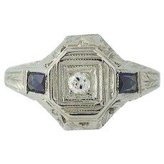 Art Deco Diamond & Syn. Sapphire Engagement Ring 18k Gold Mine Cut Vintage .04ct