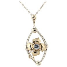 """Art Deco Synthetic Spinel Pendant Necklace 18"""" - 10k Gold Vintage .70ct"""