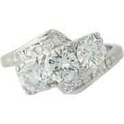 Retro Diamond Bypass Ring - 900 Platinum Vintage Round Cut 1.35ctw