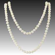 """Freshwater Pearl Necklace 48 1/2"""" - Knotted Strand Long Length June Gift"""