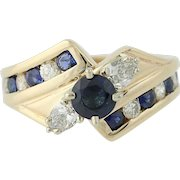 Sapphire & Diamond Bypass Ring - 14k Yellow Gold Round Brilliant 2.10ctw