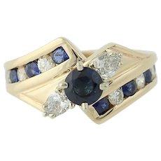 Sapphire & Diamond Bypass Ring - 14k Yellow Gold Round Brilliant 2.10ctw