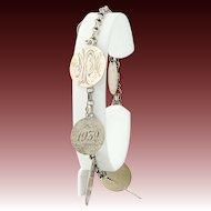 """Unique Love Token Charm Bracelet 7 1/4"""" - Sterling Antique/Vintage 1886-1939"""