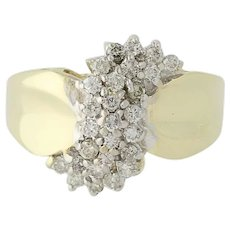 Diamond Cluster Ring - 10k Yellow Gold Tiered Round Brilliant Cut .50ctw
