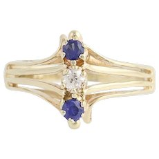 Vintage Synthetic Sapphire & Diamond Ring - 14k Yellow Gold .23ctw