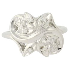 Vintage Diamond Bypass Ring - 14k White Gold Milgrain Accents .09ctw