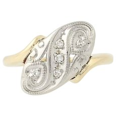 Vintage Diamond-Accented Bypass Ring - 14k Yellow & White Gold Hearts