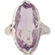 Art Deco Amethyst Cocktail Ring - 14k & 18k White Gold Vintage Solitaire 6.06ct