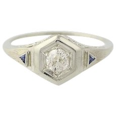Art Deco Diamond & Syn. Sapphire Ring - 18k Gold Engagement Old Euro Cut .28ct
