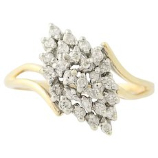 Diamond Bypass Ring - 14k Yellow Gold Tiered Cluster Women's .30ctw