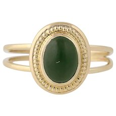 Nephrite Jade Ring - 10k Yellow Gold Cabochon Cut Solitaire Women's Size 6