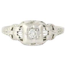 Art Deco Diamond Engagement Ring - 18k White Gold Round Brilliant Cut Vintage