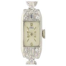 Art Deco Ladies Diamond Watch- 900 Platinum & 1/20 10k Gold Filled Serviced
