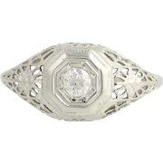 Art Deco Diamond Engagement Ring - 18k White Gold European Cut .18ct