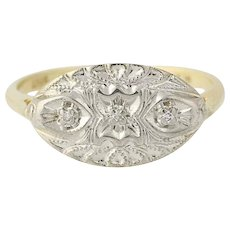 Diamond-Accented Vintage Ring - 10k Yellow & White Gold Milgrain