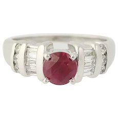 Ruby & Diamond Engagement Ring - 18k White Gold Solitaire with Accents 1.37ctw