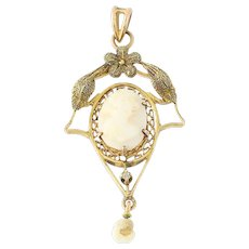 Art Deco Carved Shell Cameo Lavaliere Pendant - 10k Gold Pearl & Diamond Vintage