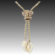 """Victorian Crown Necklace 15 3/4"""" - 14k Yellow Gold Diamonds & Pearls Antique"""