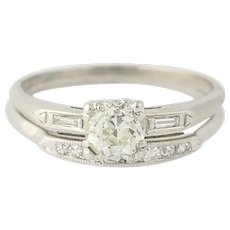 Art Deco Diamond Engagement Ring & Wedding Band - 900 Platinum Mine Cut .95ctw
