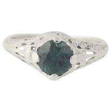 Art Deco Traub Orange Blossom Sapphire Engagement Ring - 18k Gold Vintage 1.23ct
