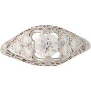 Art Deco Diamond Engagement Ring - Platinum Vintage European Cut .84ctw