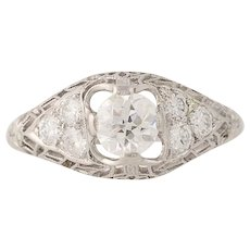 Art Deco Diamond Engagement Ring - Platinum Vintage European Cut .84ctw