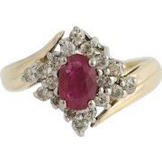 Synthetic Ruby & Diamond Bypass Ring - 10k Yellow & White Gold July .96ctw