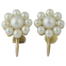 Floral Cultured Pearl Earrings - 10k Yellow Gold Non-Pierced Screw-On Backs