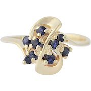 Sapphire Bypass Ring - 14k Yellow Gold Size 7 Round Brilliant .24ctw