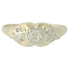 Art Deco Diamond Ring - 14k Yellow Gold Vintage Mine Cut .34ctw