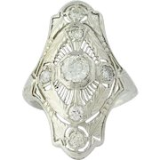 Art Deco Diamond Ring - 18k White Gold Filigree Vintage European Cut .77ctw
