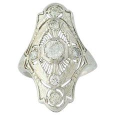 Art Deco Diamond Ring - 18k White Gold Filigree Vintage European Cut .77ctw