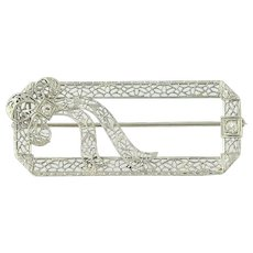 Art Deco Ribbon Brooch - 14k White Gold Vintage Filigree Diamond Accents .12ctw