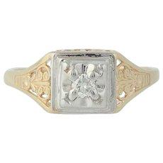 Diamond Solitaire Ring - 14k Yellow & White Gold Round Brilliant Cut