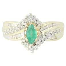 Emerald & Diamond Bypass Ring - 14k Yellow Gold Marquise Brilliant .48ctw