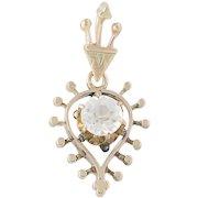 Victorian Glass Pendant - 10k Yellow Gold Women's Antique Gift