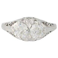 Art Deco Two-Stone Diamond Ring -18k Gold Vintage Engagement European Cut .97ctw