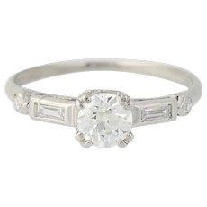 Art Deco Diamond Engagement Ring - 900 Platinum Vintage GIA Old European .66ctw