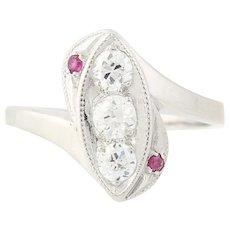Art Deco Diamond & Ruby Bypass Ring - 900 Platinum Vintage European Cut .59ctw