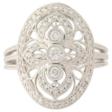 Diamond Ring - 14k White Gold Halo Milgrain Round Cut .43ctw