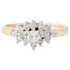 Diamond Ring - 14k Yellow & White Gold Round Brilliant Cut .60ctw