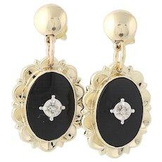 Onyx Drop Earrings - 10k & 14k Gold Antique Cut Diamond Accents Screw-On Pierced