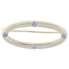 Vintage Krementz Synthetic Sapphire Brooch - 14k Yellow & White Gold .18ctw